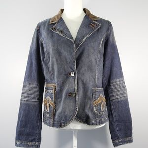 Level 99 (Anthro) Embroidered Denim Jacket L